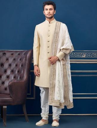 Beige textured design terry rayon wedding indo western
