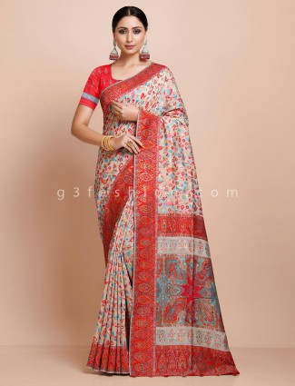 Beige thread weaving pashmina silk saree