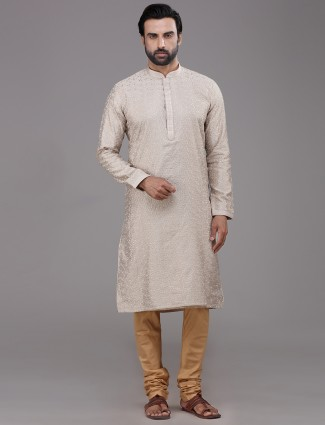 Beige thread work chanderi silk kurta suit