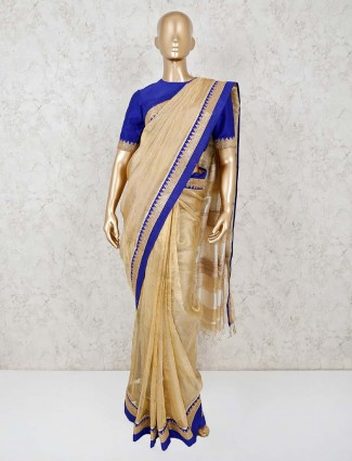 Beige tissue saree with readymade blouse for festival