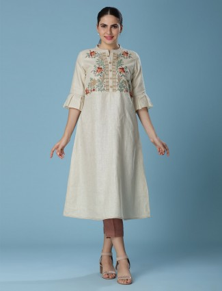 Beige tunic in linen fabric