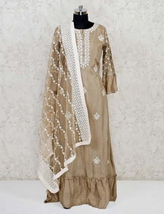 Beige wedding anarkali suit in cotton silk with dupatta