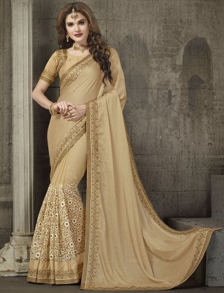 Beige wedding chiffon designer saree
