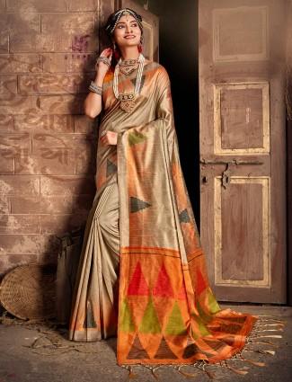Beige wedding cotton thread weaving saree