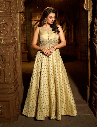 Beige wedding silk fabric anarkali suit