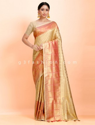 Beige wedding wear art kanjivaram silk checks contrast zari border saree