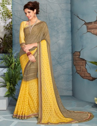 Beige yellow shaded chiffon saree