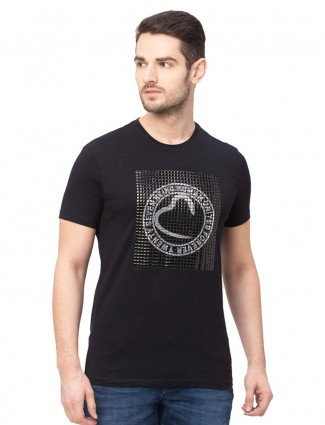Being human black printed cotton t-shirt