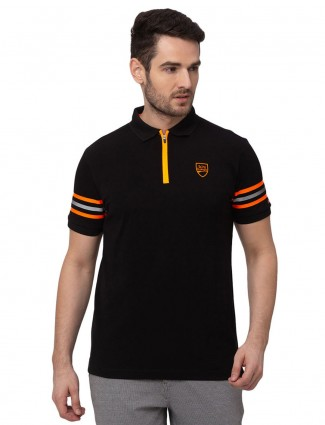 Being human black solid cotton polo t-shirt