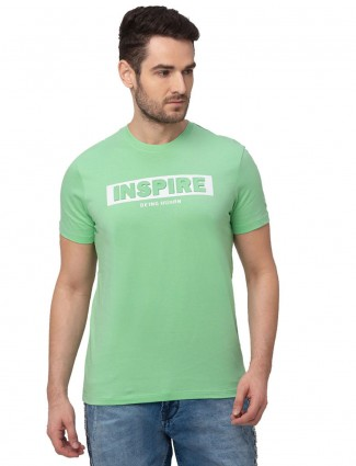 Being human cotton green round neck casual t-shirt