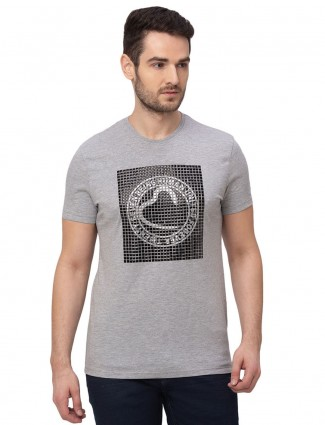 Being human emboss printed grey cotton t-shirt