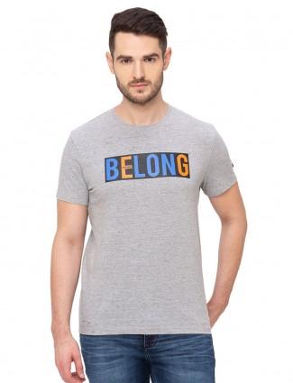 Being human men printed grey t-shirt