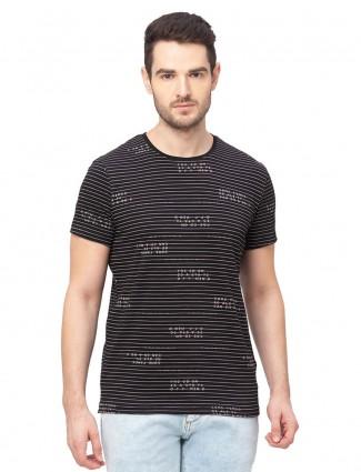 Being human mens black stripe cotton t-shirt