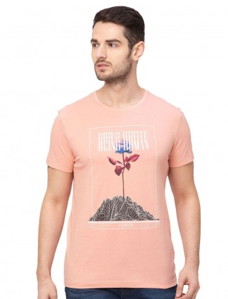 Being human peach cotton round neck casual t-shirt