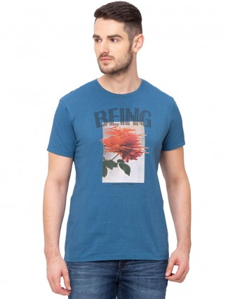 Being human pista blue printed round neck t-shirt