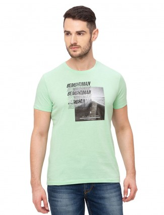 Being human pista green printed round neck t-shirt