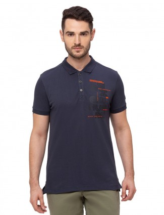 Being human printed navy cotton polo t-shirt