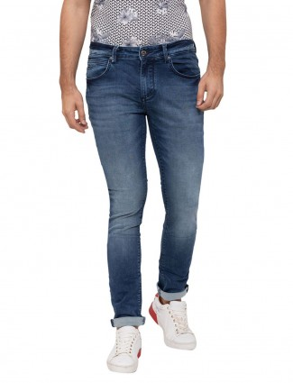 Being Human solid blue mens jeans
