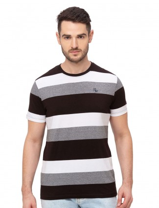 Being human white and maroon stripe cotton t-shirt