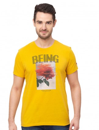 Being human yellow printed round neck t-shirt