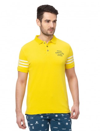 Being human yellow solid cotton polo t-shirt