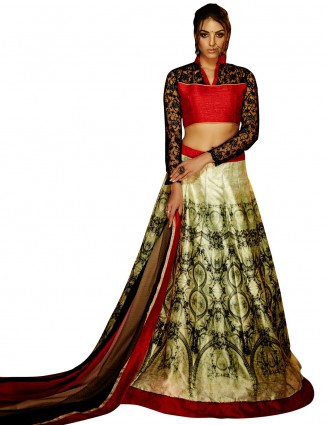 Benglori silk ready made cream printed party wear lehenga choli