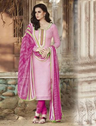 Bhagalpuri silk pink printed festive wear ready made salwar suit