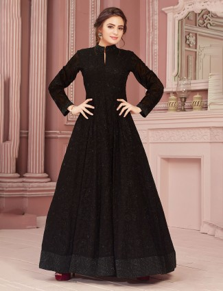 Black anarkali salwar suit for party