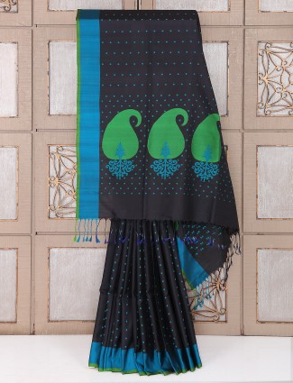 Black and aqua color silk party wear saree