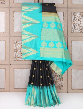 Black and aqua color silk saree