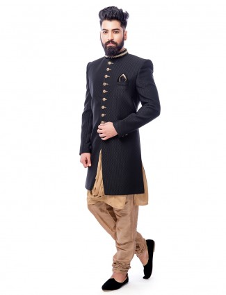 Black and beige double layered indo western