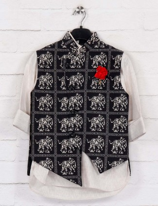 Black and beige terry rayon printed waistcoat