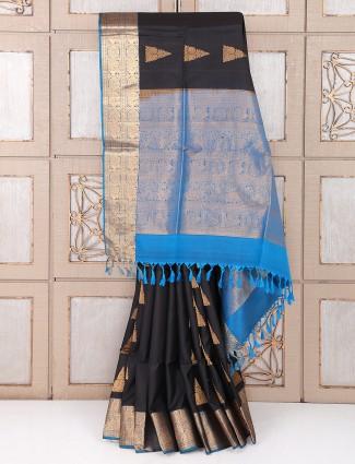 Black and blue color silk fabric saree