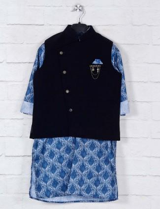 Black and blue terry rayon waistcoat set