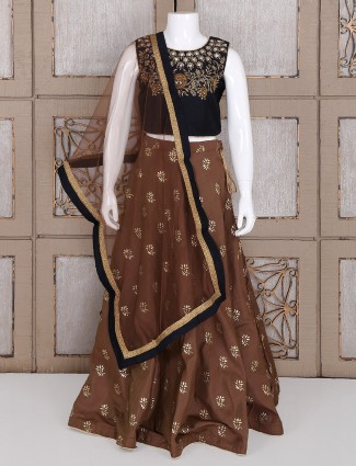 Black and brown silk choli suit
