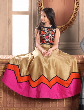 Black and gold raw silk choli suit