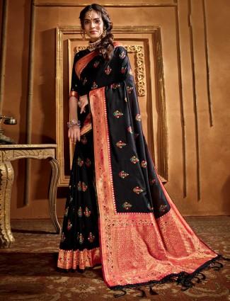 Black and golde blended banarsi silk saree