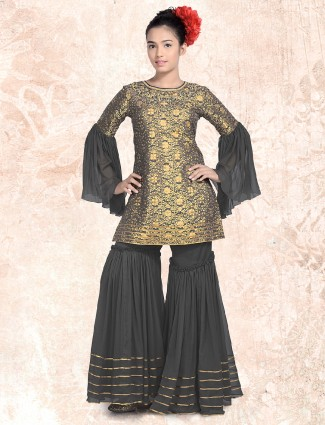 Black and golden color silk sharara suit