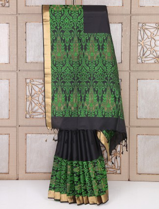 Black and green party wear saree