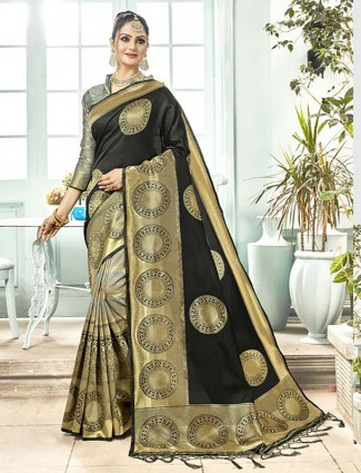 Black and grey hue half and half semi silk saree
