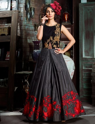 Black and grey velvet silk anarkali suit