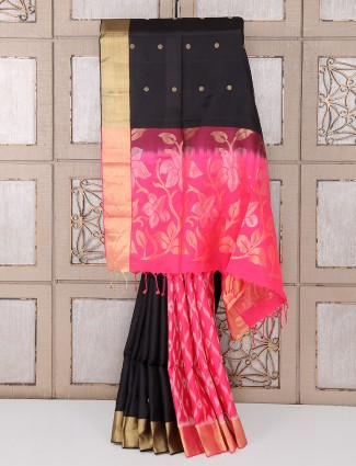 Black and magenta color silk saree for partywear