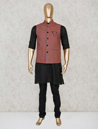 Black and maroon cotton silk printed waistcoat set