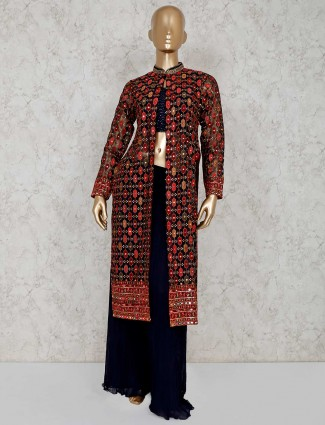 Black and navy georgette indo western palazzo suit