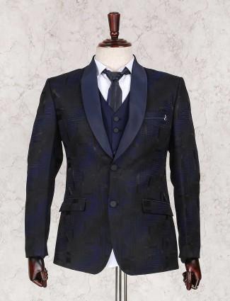 Black and navy textured coat suit