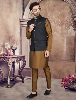 Black and olive solid cotton silk waistcoat set