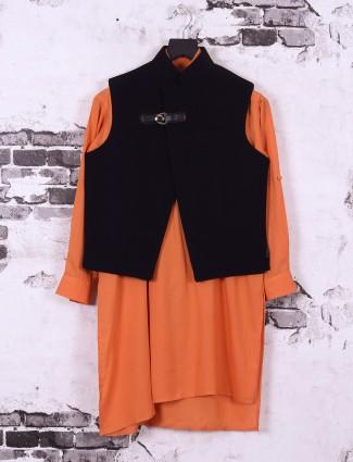 Black and orange color boys silk fabric waistcoat set