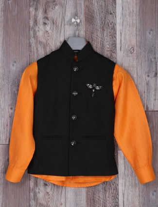 Black and orange color festive waistcoat