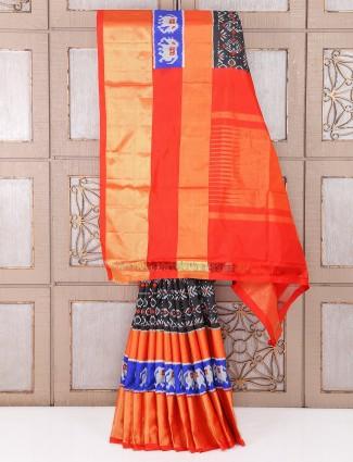 Black and orange color hyedrabadi patola saree