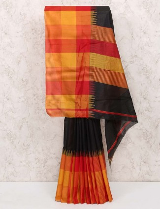 Black and orange saree in cotton silk